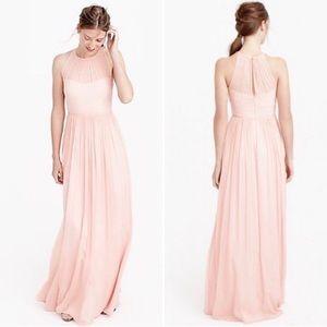 J Crew Megan Pink Silk Chiffon Gown